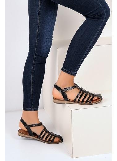 Pembe Potin A3057-19 Kadın Sandalet Siyah